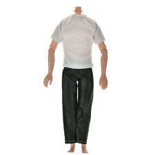 "2Pcs/set Handmade Leisure Black Pants White T Shirt for 11"" Barbies Ken Doll gta"