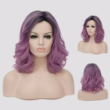 Charm Black Purple Ombre Hair Womens Medium Long Curly Wavy Cosplay Party Wigs