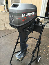 "Early 90 's Mariner 15 HP 2 Stroke 20 "" Long Shaft Outboard Motor Freshwater MN"
