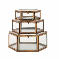 S/3 Hexagonal Glass Jewellery Storage Display Trinket Boxes Vintage Girls Gift