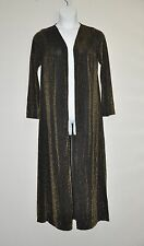 Joan Rivers Petite Length Shimmering Metallic Knit Duster Size PXS Black/Gold