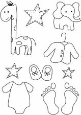 Baby Feet craft clear rubber stamps card making children Giraffe Elephant