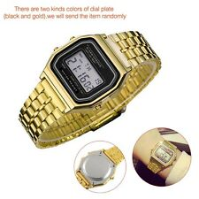 Hot Luxury Women Men Fashion Stainless Steel LED Date Analog Wrist watch gold ED