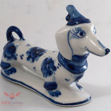 Porcelain DACHSHUND Lady Dog Figurine in Nightcap Gzhel colors handmade