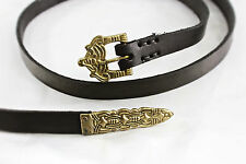 "67"" Black Leather Viking Long Belt -- Borre Style with Brass Buckle & Hardware"