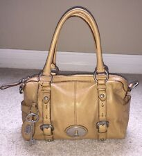 Fossil Maddox Beige Tan Taupe Leather Cross Body Satchel Purse Handbag Large