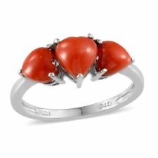 Mediterranean CORAL HEART Trilogy RING in Platinum / Sterling Silver 2.35 Cts.