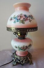 Vintage Pink Floral Gone With the Wind Hurricane Electric Table Lamp