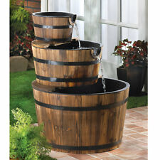 Outdoor Rustic Furniture Country Western Rustic Triple Barrel Water Fountain New
