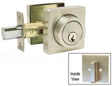 Satin Nickel Square Plate Single Deadbolt Door Lock lockset Brushed Nickel