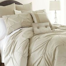 New Luxurious Embellished 8-piece Comforter Set Soft Queen Size Bed Bedding Sand