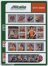 ALITALIA CAI B777-200ER safety card 64502078 12/01/2012 small -v/good cond sc558