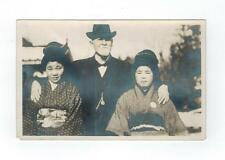 Two Asian Women Japan? & Old Western Man  circa 1910 - RPPC Photo