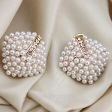 Womens Retro Elegant Crystal Rhinestone White Pearl Rhombus Ear Studs Earrings