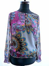 DESIGUAL FUNKY PATTERNED QUIRKY COLOURFUL SEMI SHEER TUNIC TOP BLOUSE M