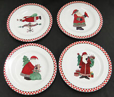 Sakura Magic of Santa Lot of 4 Salad Plates Christmas by Debbie Mumm