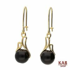 ONYX GEMSTONE STERLING SILVER 925 GOLD PLATED JEWELRY DROP EARRINGS, KAB-32