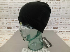 BENCH Fine Ribbed Beanie Basic Skull Cap Embroidery Logo Black Acrylic Hat BNWT