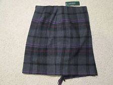 RALPH LAUREN Polo Skirt 100% Wool Plaid Gray & Black Kilt Wrap Sz 16 $198+ NWT