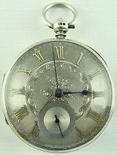 Antique silver dial fusee pocket watch HM London 1873 Not in Working Order