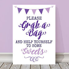 Purple & Lilac Bunting Sweet Table Candy Buffet Sign Wedding Party 3 FOR 2 (PL2)