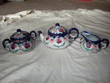 Tea Pot Sugar Bowl Creamer Set, Nippon Hand Painted Japan cobalt blue pink rose