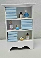 Dollhouse Miniature Handcrafted Deluxe Bath Shelf / towels & assorted  jars