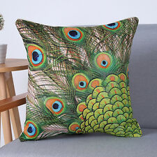 Peacock Feathers Sofa Bed Car Home Decoration Case Cushion Cover Pillow Case A