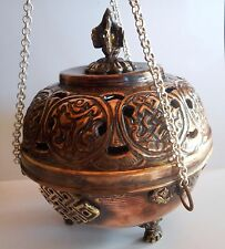 Med Round Hanging Tibetan Auspicious Symbol Copper Gemstone Incense Burner #S72