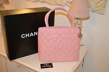 CHANEL MEDALLION TOTE BAG PINK CAVIAR LEATHER SILVER HW CARD & BOXED AUTHENTIC