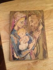 Vintage Old Icon Of Jesus Baby -virgin Mary And Joseph