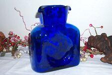 Blenko Water Bottle Art Glass Cobalt Blue Amber Double Spout Pitcher Carafe
