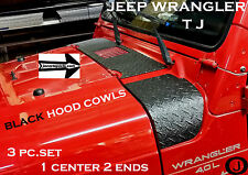 JEEP wrangler TJ black DIAMOND PLATE 3 PC.UPPER HOOD COWL SET