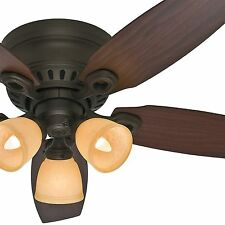 "Hunter 46"" New Bronze Low Profile Ceiling Fan w/Reversible Walnut Blades & Light"