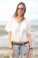 NWT RALPH LAUREN DENIM & SUPPLY WOMENS LADYS IVORY PEASANT TOP BLOUSE, SIZE L
