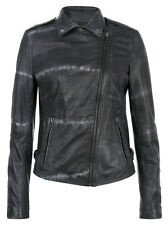Muubaa Safi Leather Tye Dye Jacket in Thunder. RRP £419. UK 10. M0456.