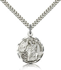 """Saint Patrick Medal For Men - .925 Sterling Silver Necklace On 24"""" Chain - 30..."""