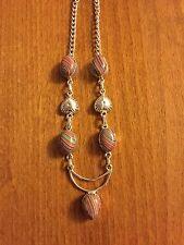 Pretty Multi Colour Stone Necklace - Crescent Moon - VGC - Pagan / Wicce