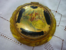 Applejuice Bakelite/Celluloid Lid/Metal 'Lads & Lasses'  Powder/Mirror Compact