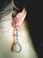 Sterling Silver Plated Clear Crystal Tear Drop Dangle Earrings