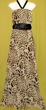 SIZE 10 GARFUNKLE HALTER NECK SLEEVELESS MAXI EVENING DRESS ANIMAL PRINT BROWN