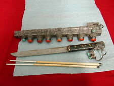antique Chinese Silver Knife and Chopsticks with Corl and Enameled Holder