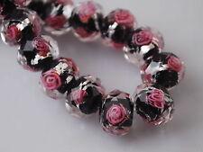 Bulk 10pcs Rondelle Faceted Glass Rose Flower Inside Lampwork Beads Spacer 8mm