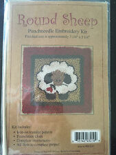 "Punch Needle Embroidery Kit - White sheep with rose fin 3 1/4"" x 3 1/4""  PNK3210"