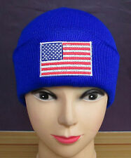 USA National Flag Cute Warm Wool Cap Hat Tuque Winter Knit Beanie Blue