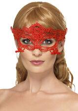 Bestickte Spitzen Augenmaske Herz Rot NEU - Karneval Fasching Maske Gesicht