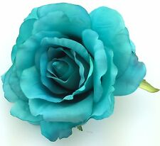 "Large 4 1/2"" Turquoise Silk Rose Flower Hair Clip, Wedding, Prom, Dance, Bridal"