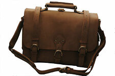 "16"" Leather Briefcase Satchel Backpack Messenger Bag Laptop - Large Desert Tan"