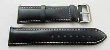 23mm Black Genuine Leather White Stitching Watch Strap fit Citizen 23P etc BNWOT