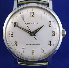 Benrus 1960's vintage Swiss 17J mechanical ss watch with Speidel stretch band